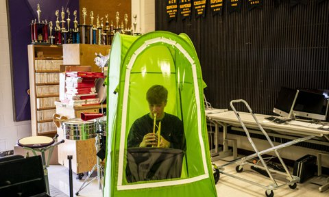School Band And Choir Members Practice In Tents As Students Return To Classrooms